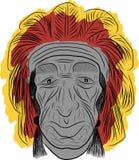 Amerikaanse Indische schets uit de vrije hand Stock Afbeelding