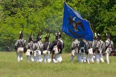Amerikaanse infanterie die in slag tijdens W marcheert royalty-vrije stock afbeelding