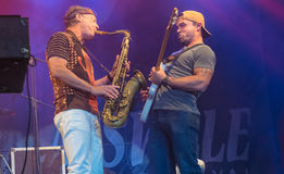 Amerikaanse jazzsaxofonist Bill Evans levend in Nisville Jazz Festival, 13 Augustus 2016 Stock Foto's