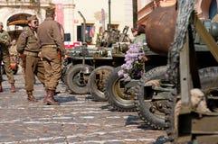 Amerikaanse Jeeps en Veteranen Stock Fotografie