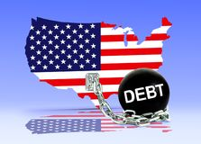 Amerikaanse Kaart en Schuldbal Royalty-vrije Stock Foto's