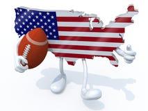 Amerikaanse kaart met armen, benen en rugbybal op hand royalty-vrije illustratie