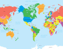 Amerikaanse kaartwereld stock illustratie