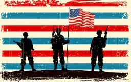Amerikaanse militair die zich met Amerikaanse vlag bevindt vector illustratie