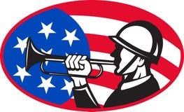Amerikaanse militair met bugel en vlag stock illustratie