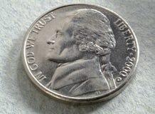 Amerikaanse nikkelvoorzijde royalty-vrije stock foto's