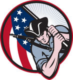 Amerikaanse Patriot Minuteman met Vlag royalty-vrije illustratie
