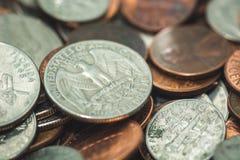 Amerikaanse Penny Money-achtergrond royalty-vrije stock foto's