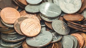 Amerikaanse Penny Money-achtergrond stock foto