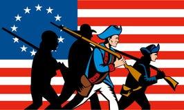 Amerikaanse revolutie met vlag Stock Foto's