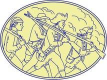 Amerikaanse Revolutionaire Militairen die Ovale Monolijn marcheren Royalty-vrije Stock Fotografie