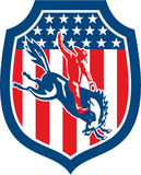 Amerikaanse Rodeocowboy Retro Riding Bronco Shield stock illustratie