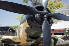 Amerikaanse A-1 Skyraider op vertoning in het Museum van Oorlogsresten binnen Royalty-vrije Stock Foto's