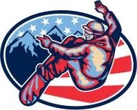 Amerikaanse Snowboarder die Retro Snowboard springen Royalty-vrije Stock Foto's