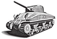 Amerikaanse Tank_engraving stock illustratie