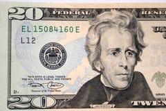 Amerikaanse twintig dollar, Andrew Jackson stock foto