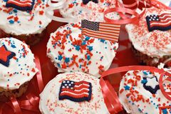 Amerikaanse Vakantie Cupcakes Stock Fotografie