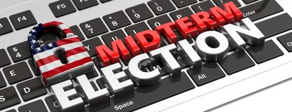 Amerikaanse van de vlaghangslot en helft van het trimester verkiezingen op computertoetsenbord, banner, 3d illustratie royalty-vrije illustratie