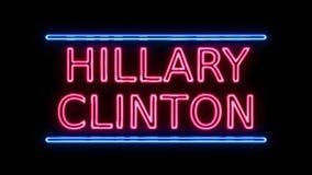 Amerikaanse Verkiezing Hillary Clinton Sign Neon Sign in het Retro Stijl Aanzetten vector illustratie