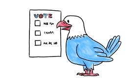 Amerikaanse Verkiezing met de 2D Animatie van Eagle Voting Drawing royalty-vrije illustratie