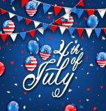 Amerikaanse Vieringsachtergrond voor Onafhankelijkheid Dag 4 Juli vector illustratie