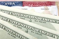 Amerikaanse visum en Amerikaanse dollars Stock Foto