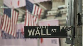 Amerikaanse Vlag De bouw van New York stock footage