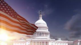 Amerikaanse Vlag, de het Capitoolbouw van de V.S. stock footage