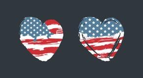 Amerikaanse vlag in de vorm van een hart, Grunge-stijl, een symbool van de Verenigde Staten Royalty-vrije Stock Fotografie