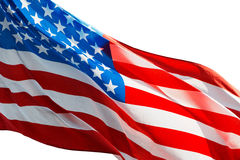 Amerikaanse vlag in de wind op witte achtergrond Royalty-vrije Stock Afbeeldingen