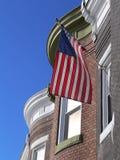 Amerikaanse Vlag die in de wind golft Stock Foto