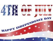 Amerikaanse Vlag die in vierde van de Illustratie van Juli wordt geschetst Royalty-vrije Stock Fotografie