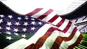 Amerikaanse vlag die in voetbalstadion blazen stock videobeelden