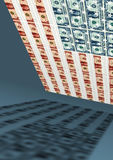 Amerikaanse vlag, dollar, economie Stock Foto