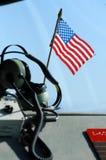 Amerikaanse vlag en hoofdtelefoons Royalty-vrije Stock Afbeeldingen