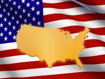 Amerikaanse vlag en kaart Stock Foto