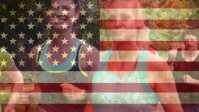 Amerikaanse vlag en marathon stock videobeelden