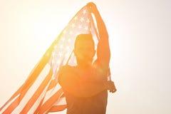 Amerikaanse Vlag en Onafhankelijkheidsdag van Verenigde Staten stock afbeelding