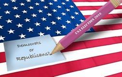 Amerikaanse vlag en ons verkiezing Stock Foto