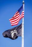 Amerikaanse Vlag en POW MIA Flag Stock Foto