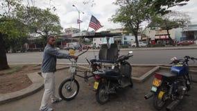 Amerikaanse vlag in Havan, Cuba stock footage