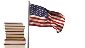 Amerikaanse vlag met boeken stock footage