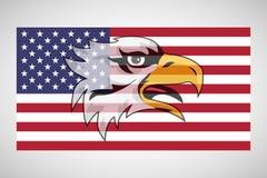 Amerikaanse vlag met een adelaar royalty-vrije illustratie