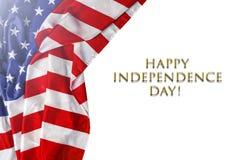Amerikaanse vlag, Onafhankelijkheidsdag, de vlag van Verenigde Staten, wit, exemplaar Stock Foto