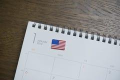 Amerikaanse Vlag op de Kalender van Januari 2019 stock afbeeldingen