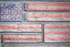 Amerikaanse Vlag op de Muur van de Steen royalty-vrije stock fotografie