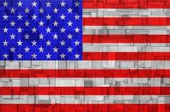Amerikaanse Vlag op een houten Achtergrond Stock Afbeelding