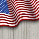 Amerikaanse Vlag op een houten Achtergrond Stock Afbeeldingen