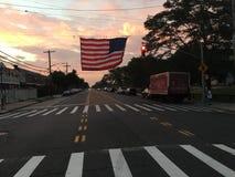 Amerikaanse Vlag op Gerritsen-Strandweg Stock Afbeelding