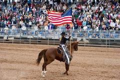 Amerikaanse vlag op horseback Royalty-vrije Stock Foto